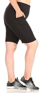 ShoSho Womens High Waist Yoga Compression Tummy Control Biker Shorts W//Pockets