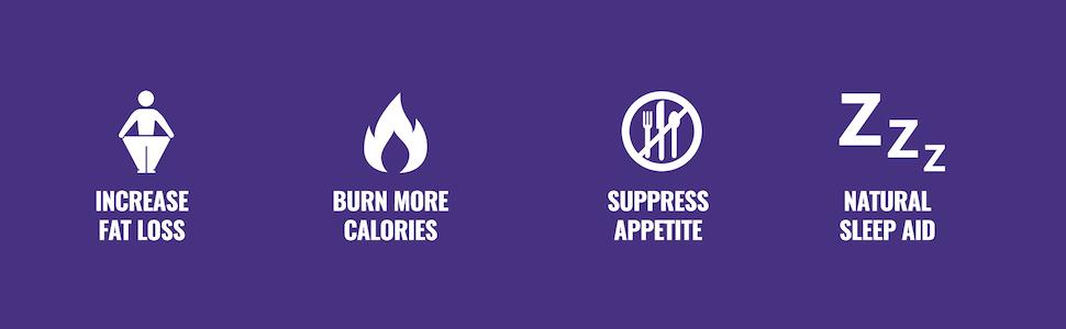 Increase Fat Loss, Burn More Calories, Suppress Appetite, Natural Sleep Aid