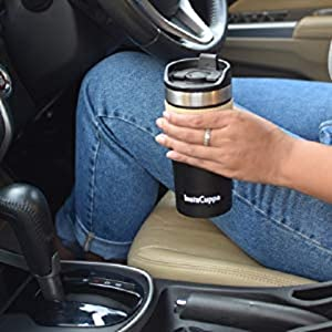 InstaCuppa Thermos Travel Mug will fit into your car cup holder