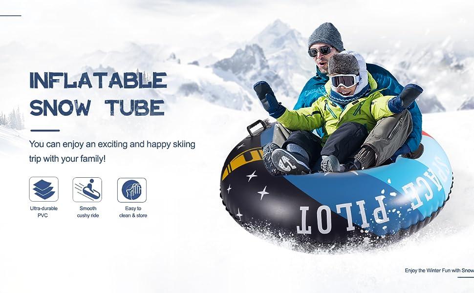 YIEZI Inflatable Snow Tube for Sledding