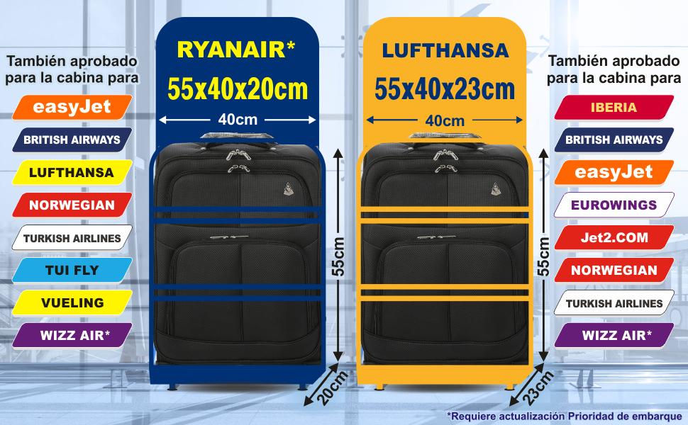 Aerolite 55x40x20 Tamaño Máximo de Ryanair y Vueling Trolley Maleta Equipaje de Mano Cabina Ligera con 2 Ruedas, Ampliable a 55x40x23cm para ...