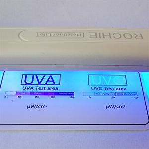 authentic real genuine uvc uv led light lamp sanitizer rechargeable, uv light intensity  test card