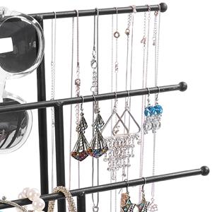 3 tier jewelry organizer rack with necklace displayed