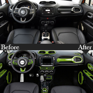 Yoursme Green Car Interior Accessories Decoration Cover Trim Kit 31PCS Air Conditioning Vent /& Door Speaker /& Water Cup Holder /& Passenger Side Grab Handle Covers for Jeep Renegade 2015-2018
