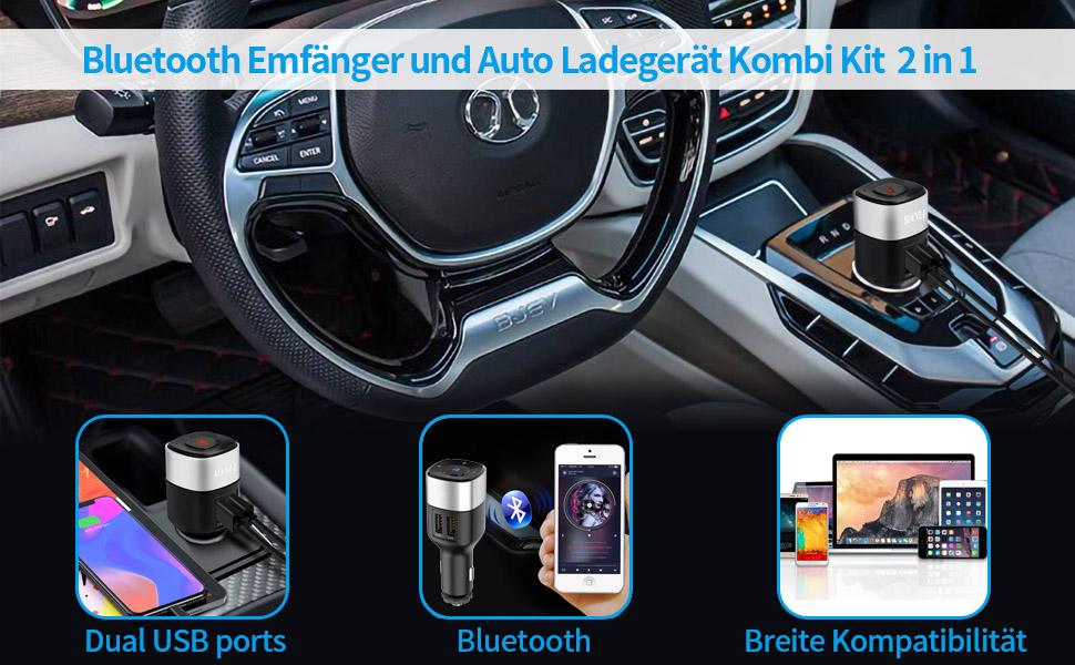 MANLI Bluetooth 4.2 Empfänger und Auto Ladegerät Combo Kit