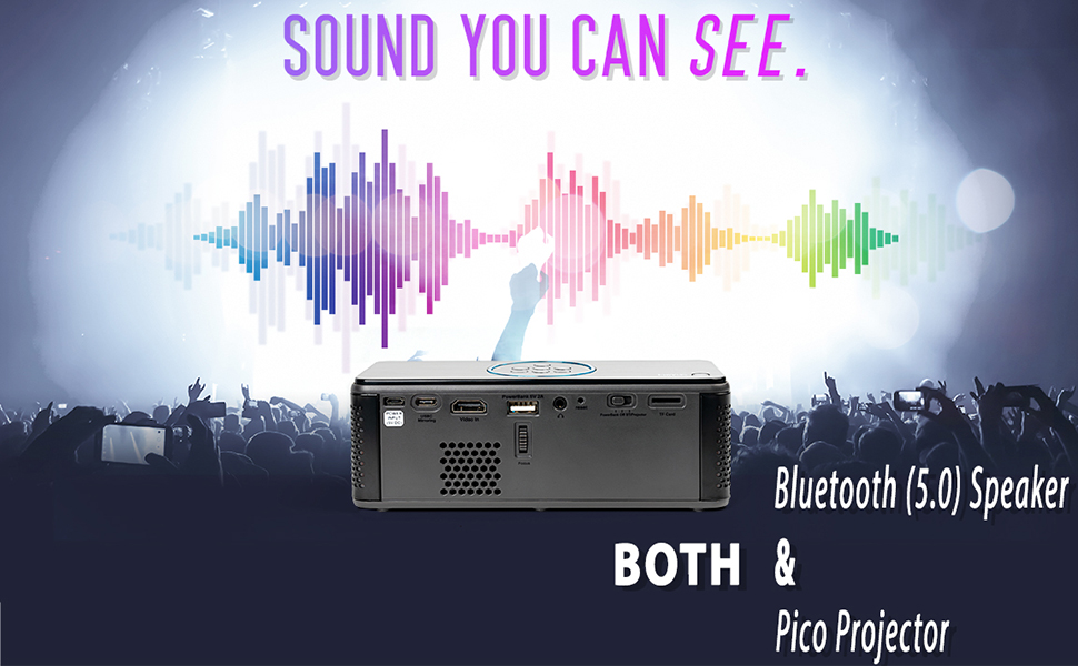 Sound You Can See. Bluetooth 5.0 Speaker and Pico Projector