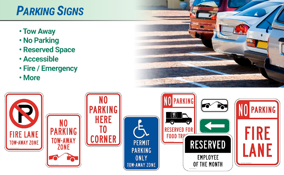 Reflective aluminum parking signs for tow away, no parking, reserved, accessible, fire / emergency