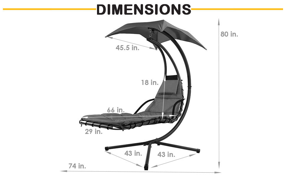 Dimensions of lounger, noted above in third section
