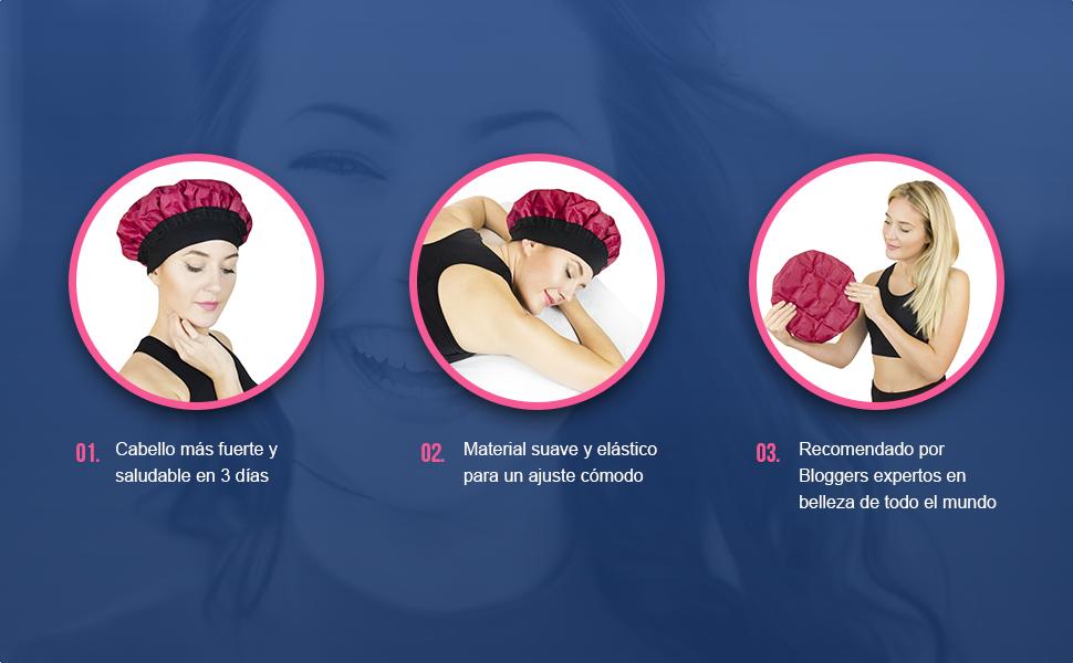 Magic Gel - Gorro térmico para el cabello:corro de vapor para ...