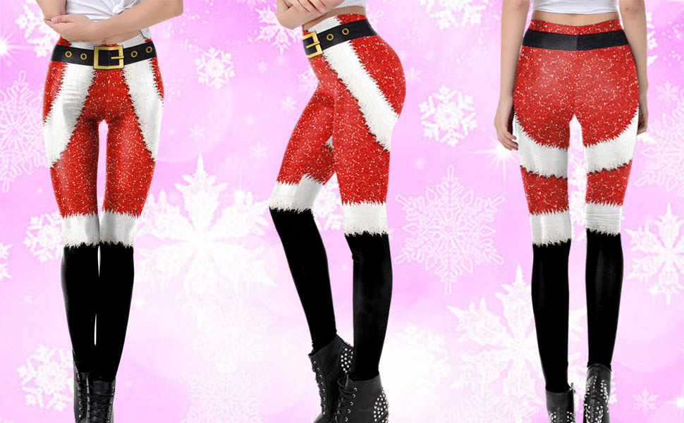 Necosthua Womens Christmas Sexy Leggings Cute Ugly Christmas Party Tights Xmas Ladies Holiday Leggings