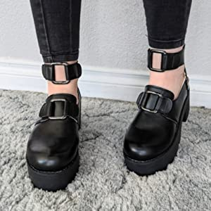 Womens Lolita Gothic Punk Heels Chunky Round Toe Buckle Mary Jane Platform Shoes