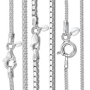 Amberta 925 plata esterlina 1.1 mm collar de cadena de bordillo