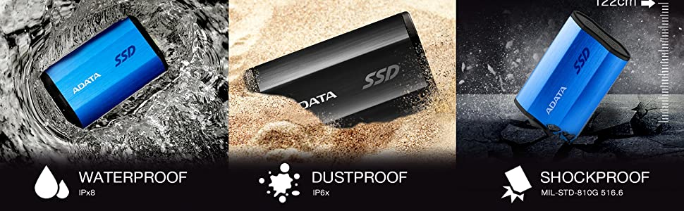 Amazon.com: ADATA SE800 512GB IP68 Rugged - Up to 1000 MB/s - SuperSpeed  USB 3.2 Gen 2 USB-C External Portable SSD Black (ASE800-512GU32G2-CBK):  Computers & Accessories