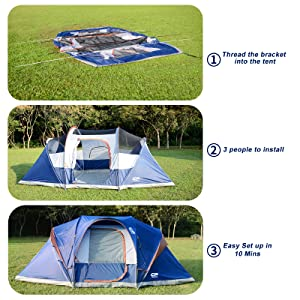 Portable with Carry Bag Double Layer Waterproof Windproof Family Tent with Top Rainfly Easy Set Up 3 Large Mesh Windows for All Seasons CAMPROS Tent-9-Person-Camping-Tents Blue