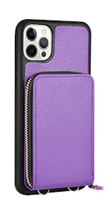 JLFCH iPhone 12 Pro Max Crossbody Case with Zipper Credit Card Holder Wrist Strap Lanyard Purse