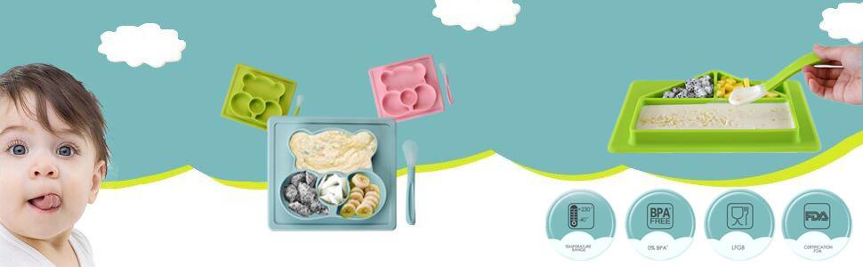 BPA-freie Babyplatte f/ür Kleinkinder und Kinder Blau Tragbare Gro/ß Kleinkindplatte von der FDA zugelassene mit einem Satz Geschirr