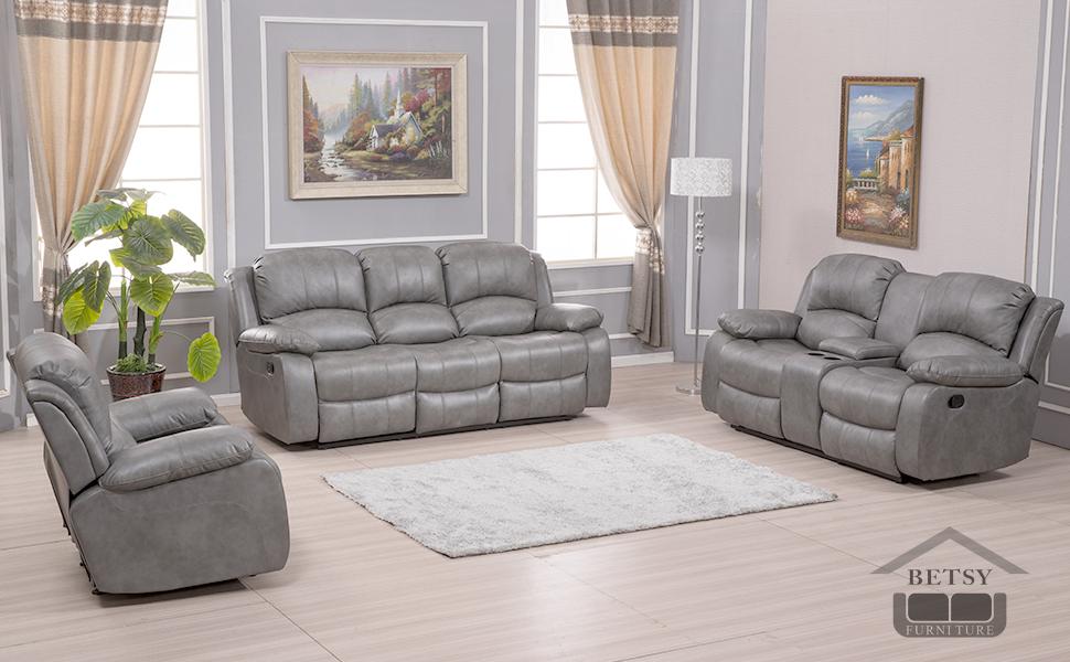 sofa set great comfortable Brown Bonded Leather upholstery pillow top backrest armrests pocket coil