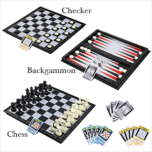 3 IN 1 Travel Chess with Cards