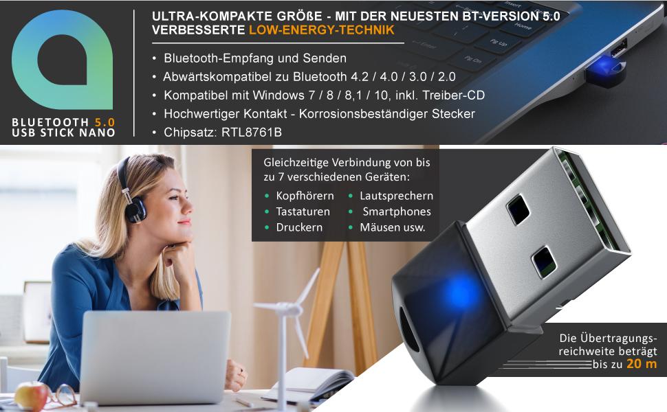 USB Bluetooth 5.0 Adapter Stick Dongle Laptop Bluetooth Desktop Laptop Drucker Headset Lautsprecher