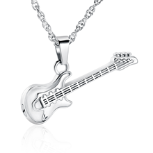 Silver guitar cremation jewelry for ashes for men women pet
