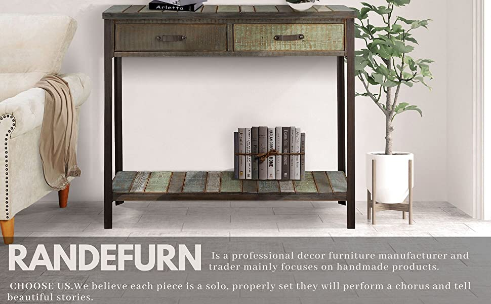 Amazon Com Randefurn Rustic Solid Wood Sofa Table Console Table With 2 Drawers And Shelf 35x12x31 5 Inches Entryway Table With Storage Metal Legs Coffee Table Antique Country Style Living Room Hallway Blue Kitchen Dining