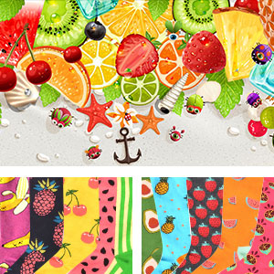 fruit colorful casual funny oil painting crew socks dress socks novelty socks
