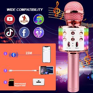 Wireless Bluetooth Karaoke Microphone Handheld Karaoke Microphone LED Lights Microphone Kids Adults