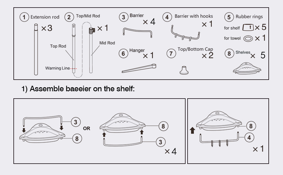 Instruction of shower caddy tension pole