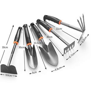 Gardening Tools - Set of 5 Hand Rake Hand Shovel & Garden Trowe