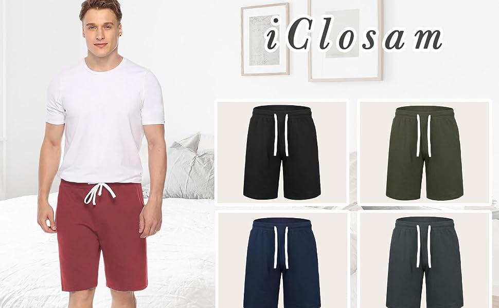 iClosam Hombre Pantalones Cortos Plisados del algodón para ...