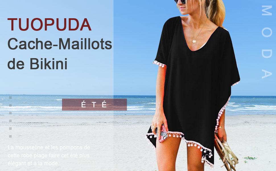 Mousseline Pompons Beach Wear Femmes Maillot de bain Cover Up Maillots de bain Maillots de bain d/'été