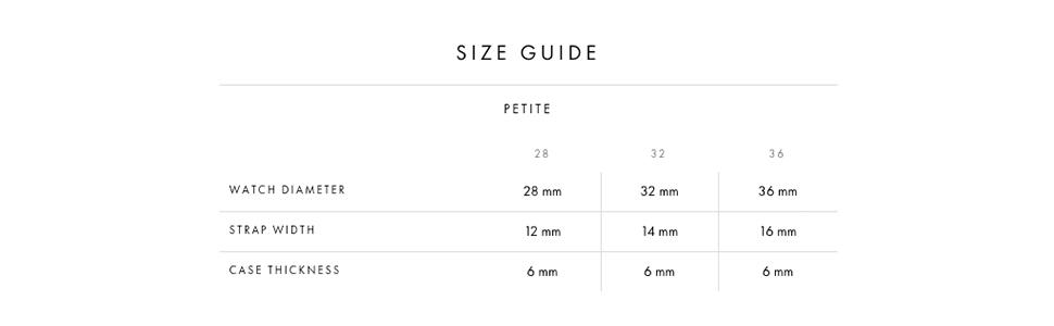 dw size guide, daniel wellington size, size guide, watch size, petite size, petite sizing, dw sizing