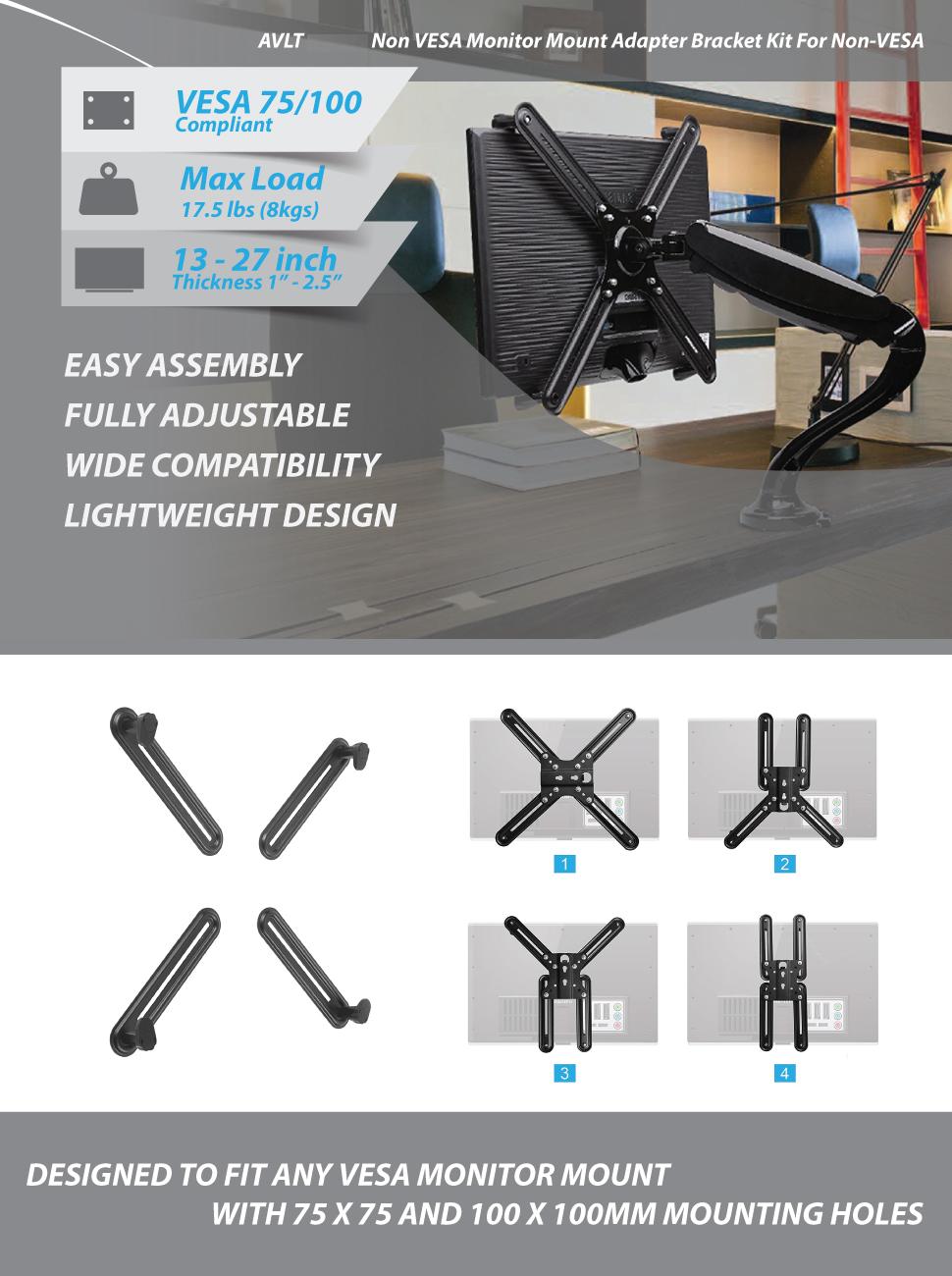 Non VESA Monitor Mount Adapter Bracket Kit