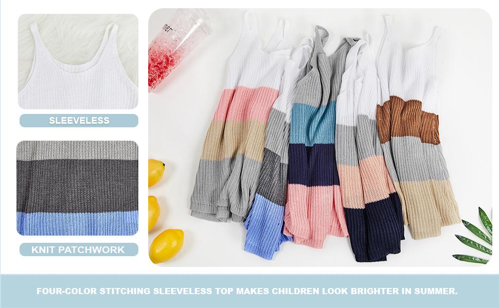 Girls Knit Colorblock Scoop Neck Sleeveless Sweater Tank Tops