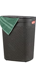 Brown Slim and tall laundry hamper skinny with lid and cutout handles