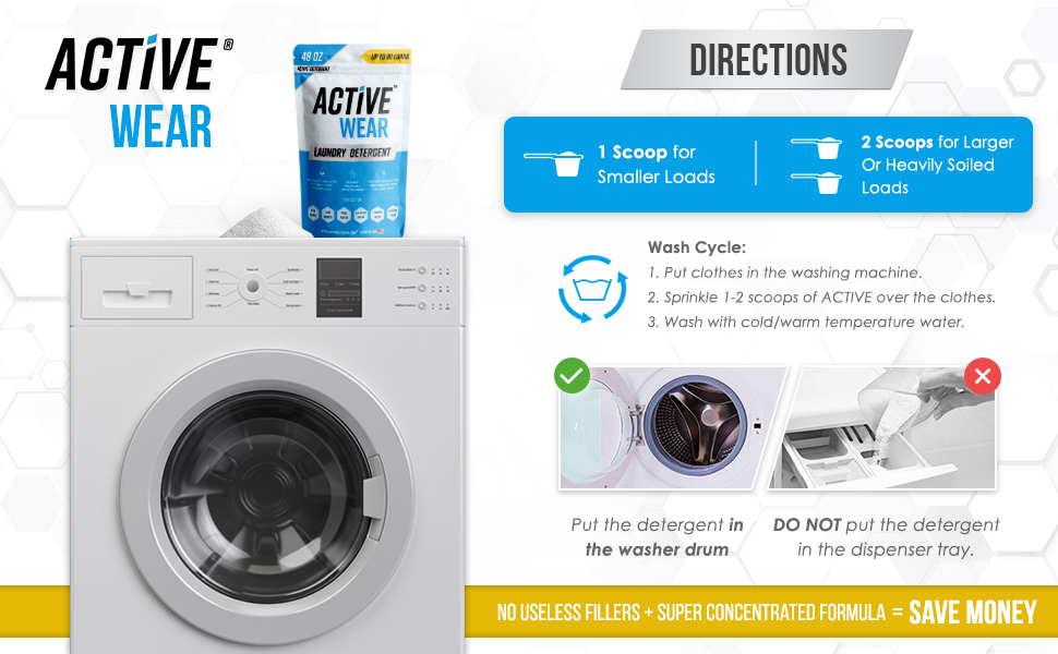 directions for active detergent