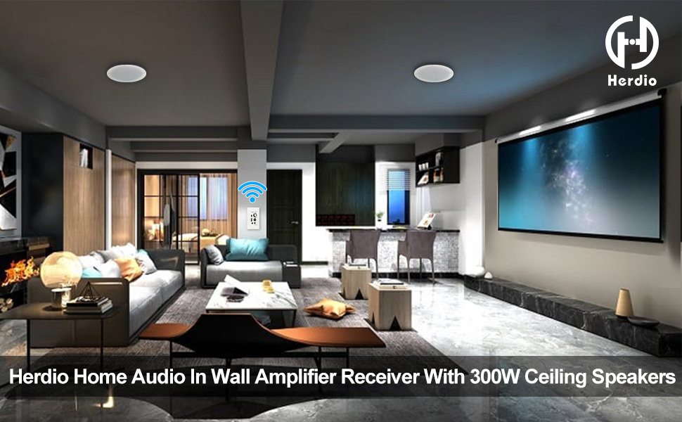 Herdio in wall audio amplifier receiver package