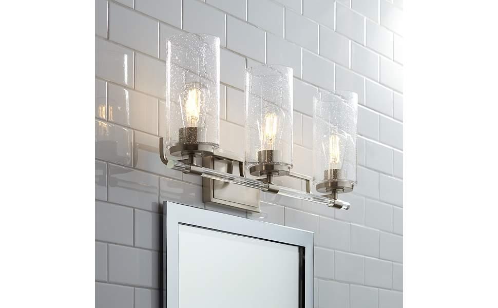 "Possini Euro Portneuf 26"" Wide Nickel 3-Light Bath Light"