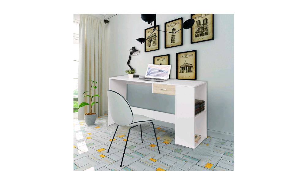 EUGAD Scrivania da Computer con Cassetto e 2 Ripiani Tavolo Porta PC Computer Table per Casa Studio Ufficio Bianco Design Scandinavo 0064ZZ
