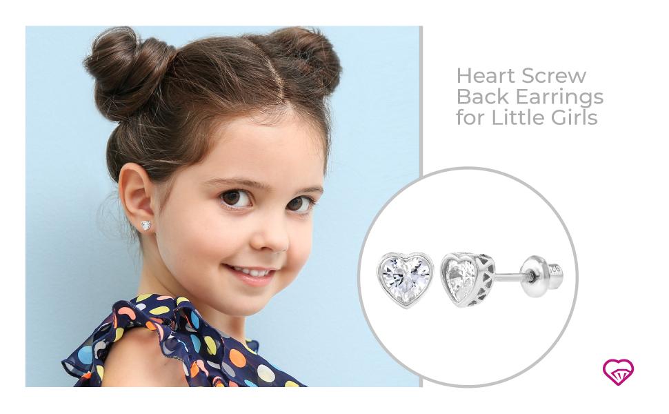 Heart Screw Back Earrings