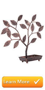 Jewelry Tree, Earring Necklace Hanger Holder with Ring Dish Tray, Bronze