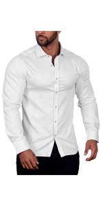 COOFANDY Men Muscle Fit Untucked Shirt Wrinkle-Free Dress Shirt Long Sleeve Casual Button Down Shirt