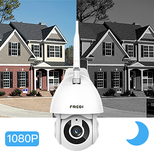 FREDI HD 1080P ptz telecamera di sorveglianza Videocamere di Sorveglianza WIFI Esterno con Rilevamento del Movimento, IP65 Telecamera IP Camera Wireless, IP Cam senza fili