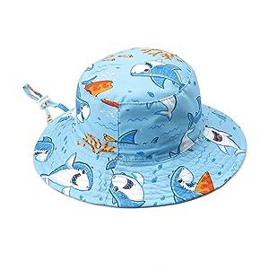Vobony Sombrero de Sol para Beb/é Ni/ño Ni/ña ala Ancha Ajustable Gorro de Pescador Verano UPF 50 Sombrero Protecci/ón Solar para Exteriores//Nataci/ón//Playa//Piscina