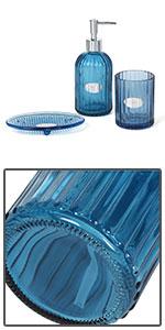 Blue Glass Bath Accessories Set