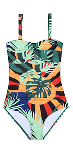 Nuoyanmei V Neck Tropical Forest Print Lace Up Waist One Piece Swimsuits for Women Bathing Suit