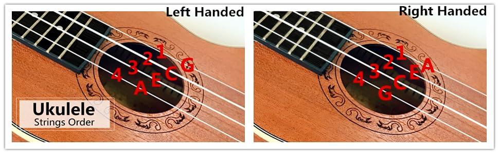 Ranch Left handed Concert Ukulele 23 inch Professional Wooden ukelele Instrument with Padded Gig Bag
