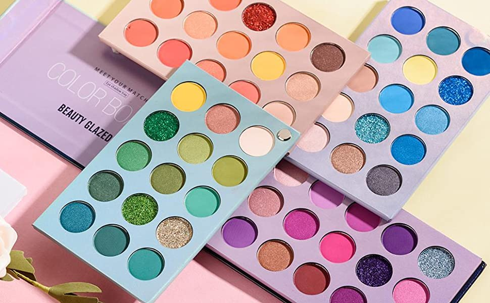 Beauty Glazed 60 Color New Makeup Eyeshadow Palette 4 in 1 Color Board Pressed Glitter Eye shadow