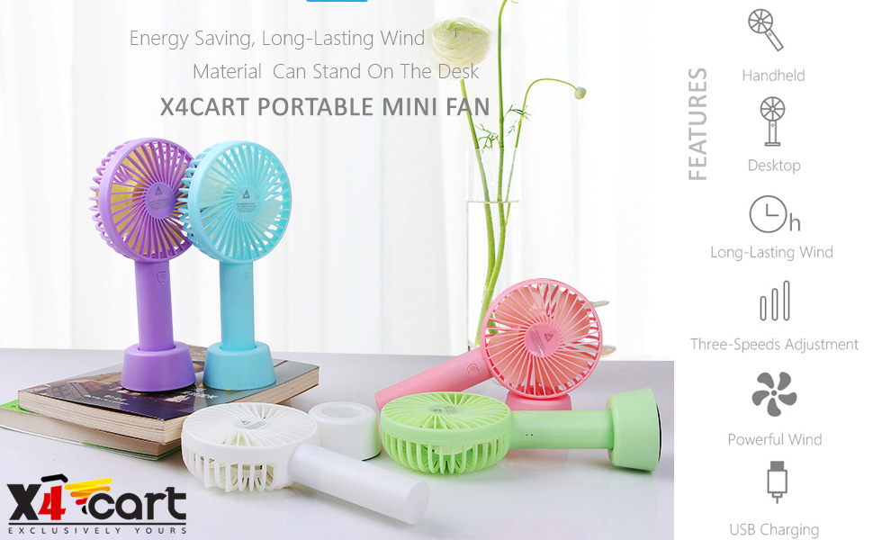 X4Cart Mini Handheld Portable Fan USB Rechargeable Built-in Battery Operated Handy Base Holder