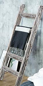 Blanket Ladder Wood Rustic Decorative - White on Brown